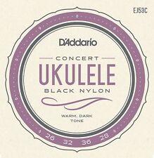 D'Addario EJ53C Pro-Arté Rectified Concert Ukulele Strings Black Nylon /Hawaiian