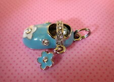 Crystal Baby Shoe Charm Pendant Blue & Silver Bootie