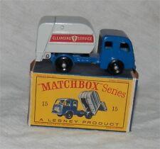 Lesney. MATCHBOX 15. Déchets, Poubelle. camion poubelle. BPW. Comme neuf in D Box. All Original