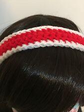 Classic Red & White Ladies Crochet Headband Hairband Hair Accessory
