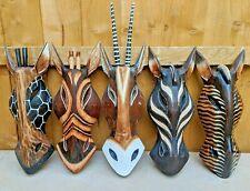 Fair trade Hand Carved Wooden Zebra Giraffe Animal Mask Wall Art Hang Masks 30cm