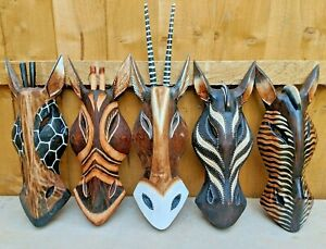 Fair trade Hand Carved Wooden Zebra Giraffe Animal Mask Wall Art Hang Masks 30cm