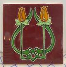 Rare Art Nouveau majolica Tile Embossed 6 x 6 Inch Collectible TULIP DESIGN