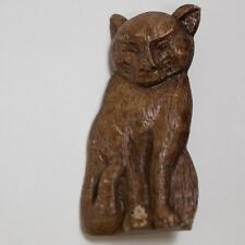 Vintage Hand Carved & Stained Wooden African Wild Cat Pin