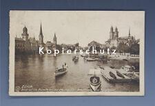 Ansichtskarte ZÜRICH Münsterbrücke+Fraumünster+Post um 1919