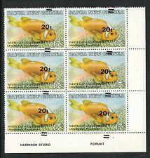 PNG OVERPRINT FISH 20T ON 17T BLOCK 6 GROSSLY MISPLACED OVERPRINT/ ALSO ON BACK.