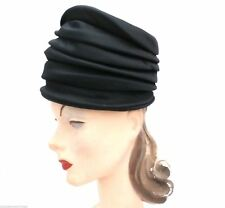 Vtg Lilly Dache  Fab Tall Hat Cocktail Calash Black Silk