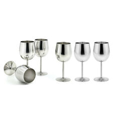 6pcs Stainless Steel Wine Goblet Champagne Cup Red Wine Cocktail Mug Silver