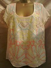 Warehouse cream chiffon sequin top size 14 holiday barbeque garden party