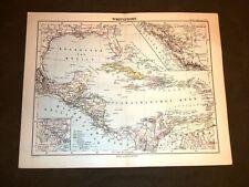 Carta geografica o mappa Berghaus 1882 Ancient map India occidentale e Nicaragua
