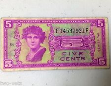 SERIES 541 FIVE CENTS MILITARY PAYMENT CERTIFICATE  F14537921F--54-FREE SHIPPING