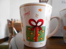 Holiday Gifts Mug 12 oz. Christmas Joy Stoneware White Red Green Yellow !
