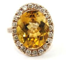 Huge Oval Orange Citrine & Diamond Halo Solitaire Ring 14K Rose Gold 8.53Ct