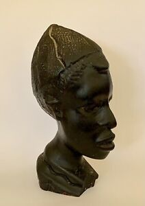 Wooden African Head Bust Hand Carved Art