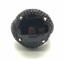 Sterling Silver 925 Faceted Round Black Onyx Cluster Band Swirl Cocktail Ring 7