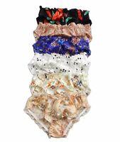 6 Pairs 100% Silk Pattern Women's Intimates Bikini Panties Size S M L XL 2XL 3XL