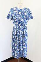 Vtg Breli Blue White Multi Floral Paisley Print Shirt Dress Size 10 Modest Retro