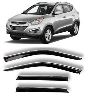 Chrome Trim Window Visors Guard Vent Deflectors For Hyundai ix35/Tucson 2011-15
