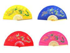 4 Colors Mascot Dragon and Phoenix Chinese Kung Fu Tai Chi Bamboo Fan 4pcs New