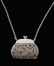 "17"" Chain Silver Tone Marcasite Handbags Pendant Clutch Purse Necklace Jewelry"