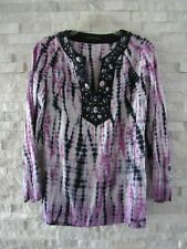 Lafayette 148 Violet, Navy & White Shibori Dyed Linen Beaded Neck Tunic Top 4
