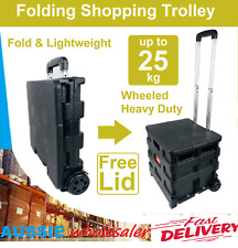 Foldable Shopping Trolley Cart  Folding Portable Wheeled With Handle & Cover LID