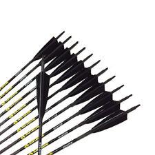 "12PCS Archery Carbon Arrows 32"" SP340 5"" Turkey Feather Black Nocks Bow Hunting"