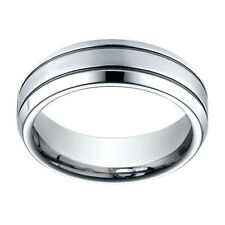 Sterling Silver 7.00 Mm Comfort-Fit Men's Wedding Band Ring Sz-13