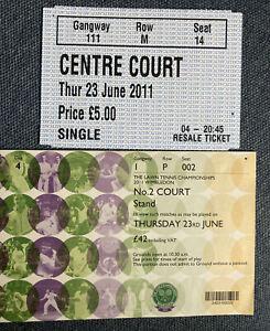 Wimbledon Court 2 Ticket Stub & Resale Ticket