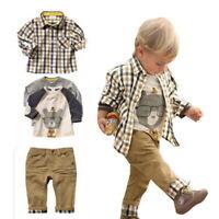 3Pcs Toddler Baby Boys Dress Coat + Shirt +Denim Pants Sets Kids Clothes Outfits
