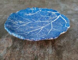 Leaf Ceramic Blue Dish Shaped Vintage Handmade Creative Collectibles Plate Round