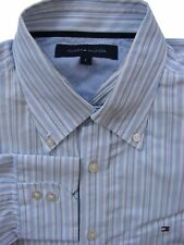 TOMMY HILFIGER Shirt Mens 16.5 L Blue & White Stripes