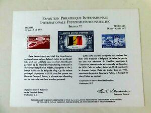 US #SC20 Souvenir Card, Belgica '72, Brussels' Stamp Show1972, Mint/VF