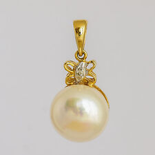 PEARL DIAMOND PENDANT 9.9mm CULTURED PEARL PETITE 14K 585 GOLD BUTTERFLY DESIGN