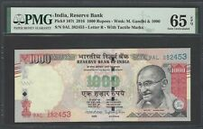 India 1000 Rupees 2016 P107t Uncirculated Letter R Graded 65