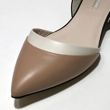 $595 Giorgio Armani Women's Black Brown Nude X1D197 Leather 11 41 Fashion Flats