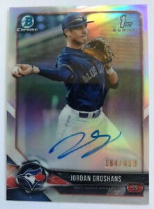 2018 Bowman Chrome Draft Jordan Groshans Refractor Auto SP /499 Blue Jays