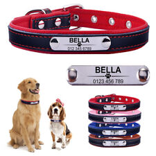 Small Medium Large Personalized Dog Collar Leather Engraved ID Tag Custom Name