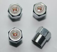 Cadillac White Tire Valve Stem Caps Wheel Set of 4 Free Shipping