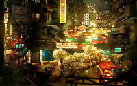 CHINESE BAZAAR NEW A3 CANVAS GICLEE ART PRINT POSTER FRAMED