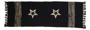 """Woven Black CLASSIC STAR Table Runner, 13"""" x 36"""", by The Country House"""