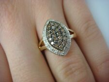 MARQUISE SHAPE RING PAVE SET COGNAC AND WHITE DIAMONDS 14K YELLOW GOLD,SIZE 6