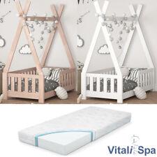 VITALISPA Kinderbett TIPI Indianer Bett Kinderhaus Holz Hausbett 70x140cm