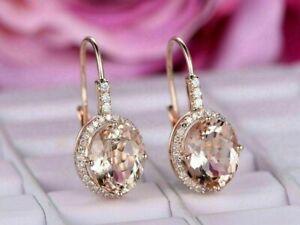 2Ct Oval Cut Peach Morganite & Diamond Drop/Dangle Earrings 14K Rose Gold Finish
