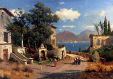 "Oil Painting repro Carl Gustav Rodde  An Italian Village By A Lake 24""x36"""