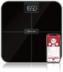 Sinocare 180KG Digital Electronic Bathroom Scales Glass LCD Measures Body Weight