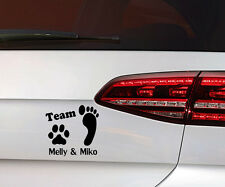 Hunde Aufkleber Pfote Hund Sticker + Team Wunsch Namen Dog Decal Premium Folie