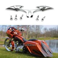 Chrome Blade Motorcycle Cruiser Chopper Rear View Mirrors For Harley Universal