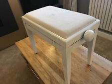 More details for piano bench white high polish, fabric seat