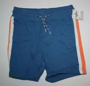 New OshKosh Boys 5T 5 yr Shorts Blue w Orange Stripe Pull On Soft Ribbed Waist